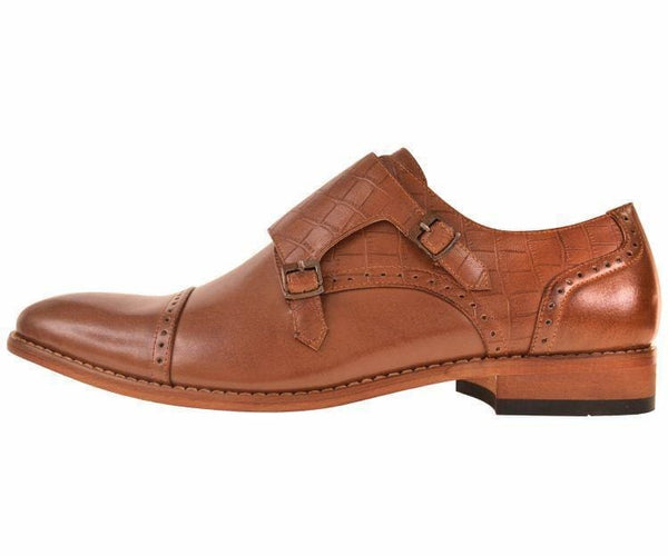 Brad Crocodile Embossed Double Monk-Strap Monk Straps
