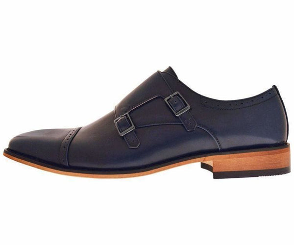 Baker High Gloss Smooth Double Monk Strap Captoe Dress Shoe Monk