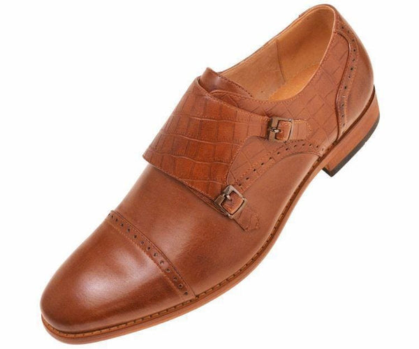 Brad Crocodile Embossed Double Monk-Strap Monk Straps Tan / 10