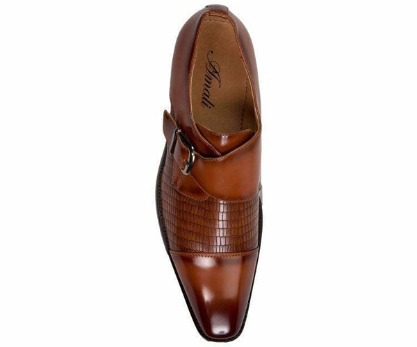 Bressler One Strap Cap Toe Monk With Embossed Vamp Mens Dress Shoe Monk Straps
