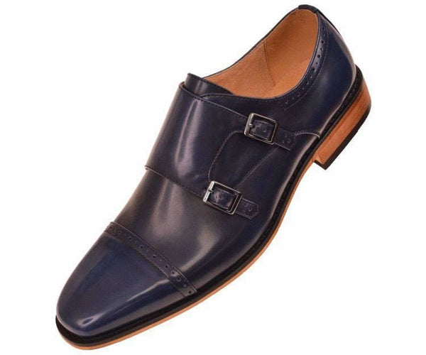 Baker High Gloss Smooth Double Monk Strap Captoe Dress Shoe Monk Navy / 7