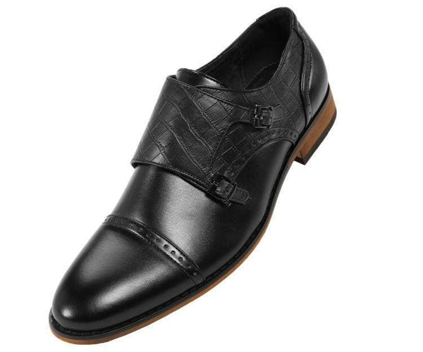 Brad Crocodile Embossed Double Monk-Strap Monk Straps Black / 10