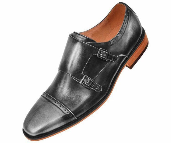 Baker High Gloss Smooth Double Monk Strap Captoe Dress Shoe Monk Silver / 7