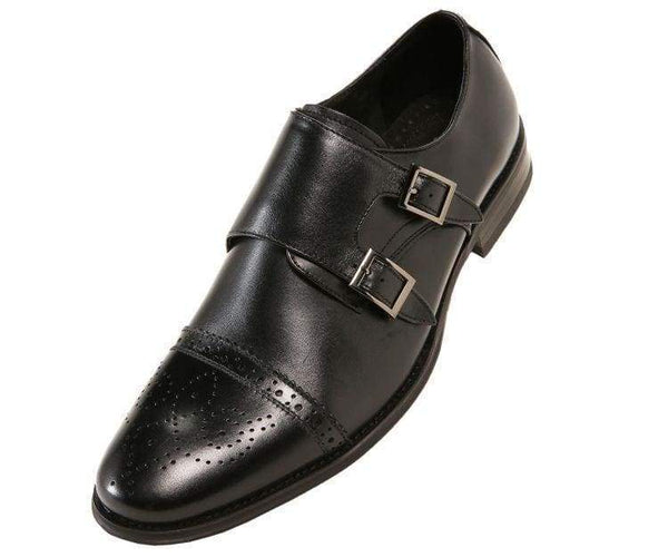 Stowe Genuine Leather Classic Double Monk Strap Dress Shoe Monk Straps Black / 10