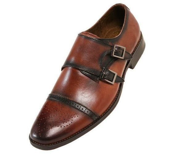 Stowe Genuine Leather Classic Double Monk Strap Dress Shoe Monk Straps Brown / 10