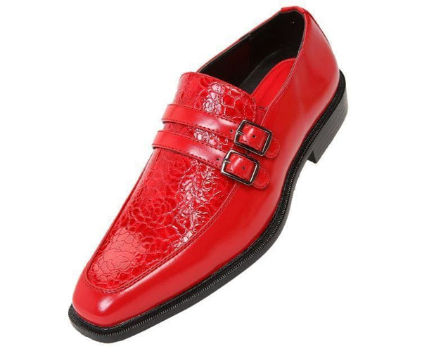 Martin Double Monk Strap W/ Exotic Vamp Monk Straps Red / 10