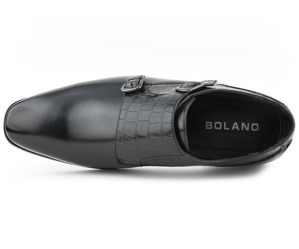 Bolano Waylon - Men's Reptile Print Dress Shoes, Double Monkstrap Formal Mens Shoes