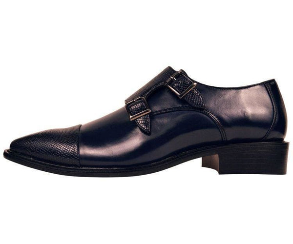 Bancroft Lizard Embossed Monk-Strap With Dual Buckle Monk Straps