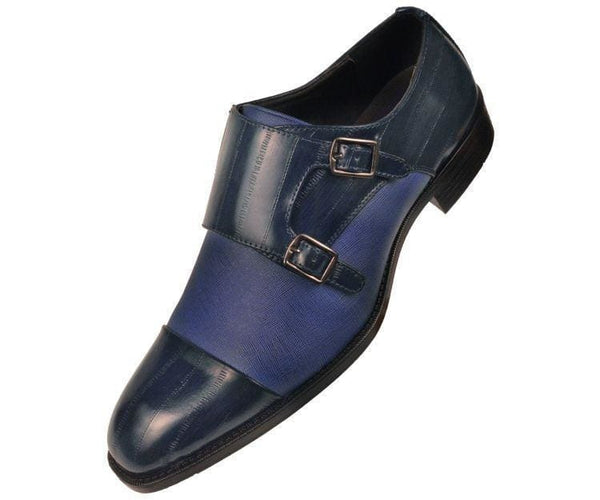 Marcus Eel Printed Double Monk-Strap Monk Straps Blue / 10