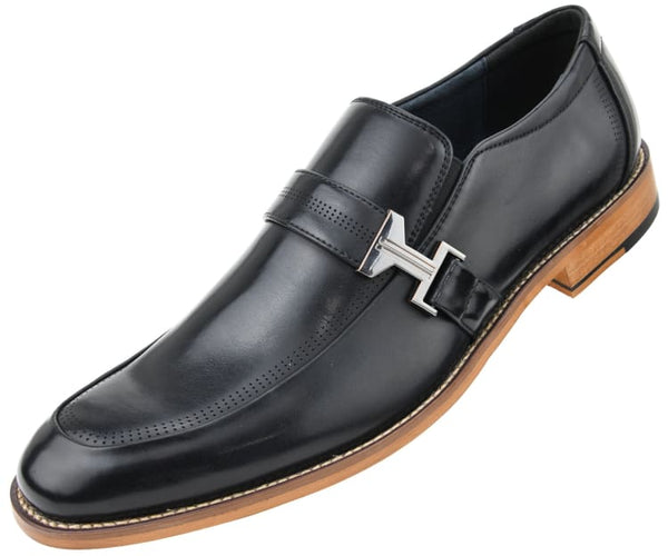 Amali Men's Smooth Moc Toe Loafer with Single Decorative Strap and Gunmetal Buckle and Perforations Slip On Dress Shoe, Style Bankston