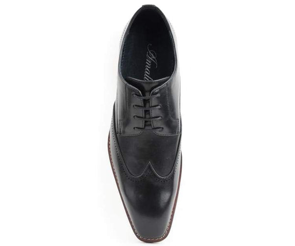 Amali Men's Smooth Wing Tip Lace Up Oxford Dress Shoe with Perfoations Along The Wing & Back, Style Cornik