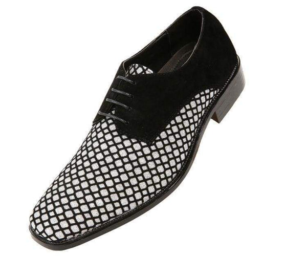 Crawford Lattice Pattern Glitter Oxford Dress Shoes Derbs Black/silver / 10