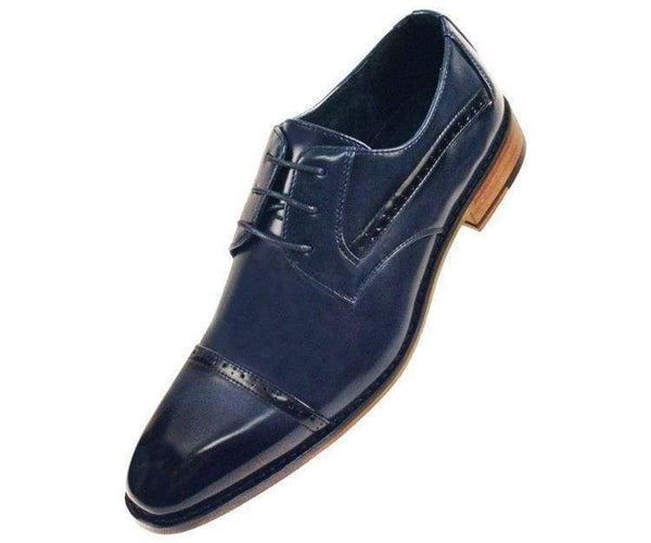 Timothy Perforated Cap-Toe Oxford Derby Oxfords Navy Blue / 10