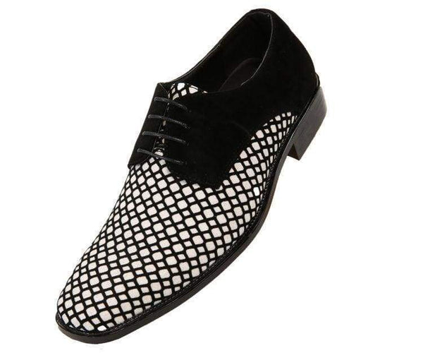 Crawford Lattice Pattern Glitter Oxford Dress Shoes Derbs Black/white / 10