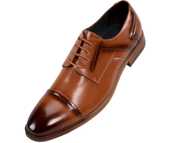 Batista Mens Smooth Cap Toe - Dress Shoe Derbys 10 / Tan