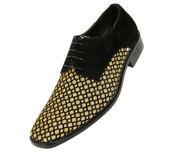 Crawford Lattice Pattern Glitter Oxford Dress Shoes Derbs Black/gold / 10