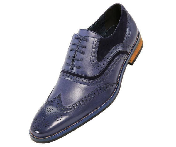 Mitch-Sale Tonal Smooth And Microfiber Wingtip - Sale Lace Up Blue / 10