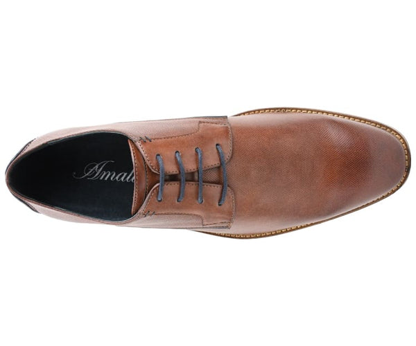 Amali Men's Contemporary Lace Up Oxford with Laser Cut Perforations and Contrast Piping Dress Shoe, Style Barlow