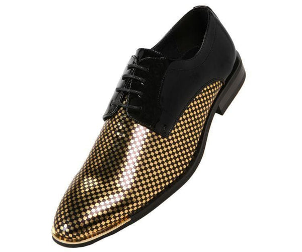 Winslow Patent Checkerboard Print Oxford Derby With Metal Tip Derby Gold / 10