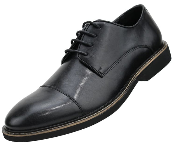 Amali Men's Smooth Faux Leather Cap Toe Oxford Dress Shoes