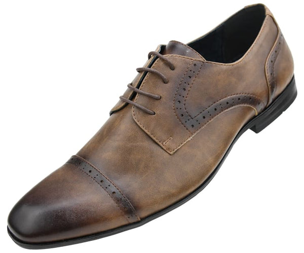 Amali Men's Classic Smooth Cap Toe Lace Up Dress Shoe, Style Emmitt