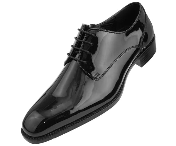 Amali Men's Patent High Shine Faux Leather Lace Up Oxford Dress Shoe, Style Classiko