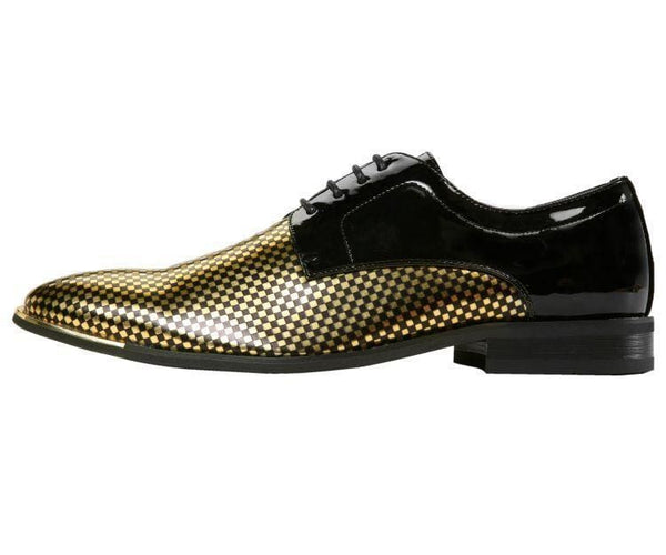 Winslow Patent Checkerboard Print Oxford Derby With Metal Tip Derby