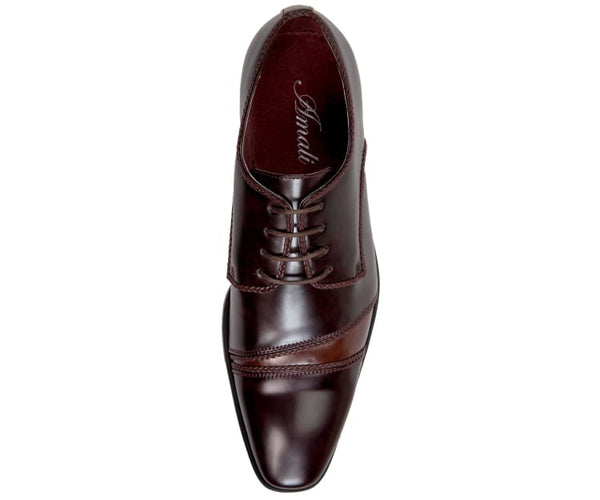 Bevel-Brown Smooth Modified Cap Toe With Braided Details Derby