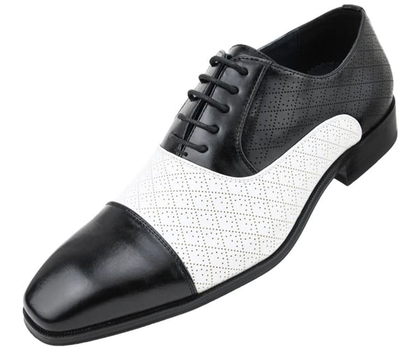 Amali Men's Quilted Embossed Two Tone Lace Up Faux Leather Oxford Dress Shoe with Smooth Cap Toe, Style Hammond