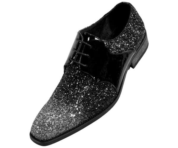 Gradey Mens Two Tone Metallic Tuxedo Oxford Patent Trim Dress Shoe Derby Silver / 10