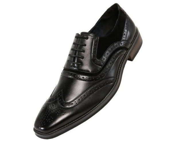 Mitch-Sale Tonal Smooth And Microfiber Wingtip - Sale Lace Up Black / 10
