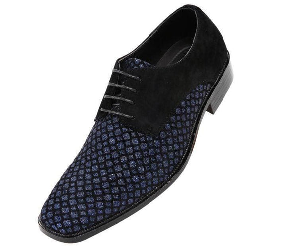 Crawford Lattice Pattern Glitter Oxford Dress Shoes Derbs Black/royal Blue / 10