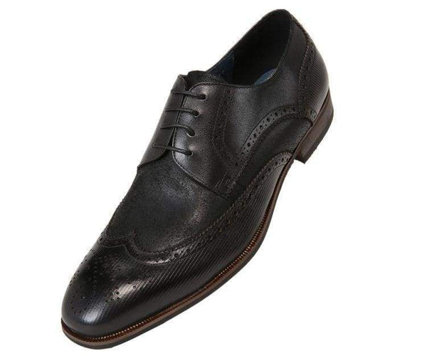Ag1034 Suede Wingtip With Stripe Embossed Leather Derbs Black / 10
