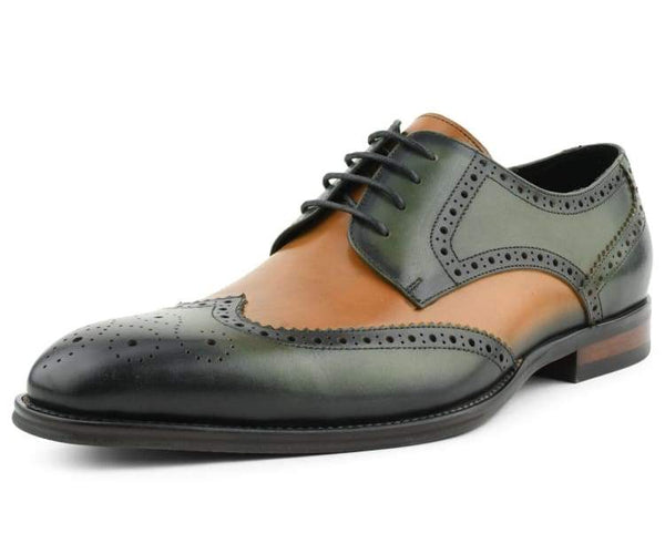 Asher Green AG3503 Men's Dress Shoes, Genuine Leather Shoes for Men, Formal Designer Shoes Multi Tone Dress Shoes for Men Wing Tip Oxford Shoes, Style AG3503