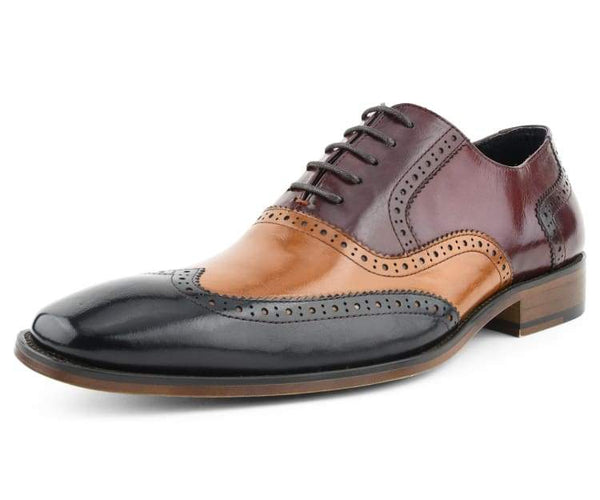 Asher Green Mens Two Tone Brown /& Cognac Genuine Leather Wingtip AG100-065
