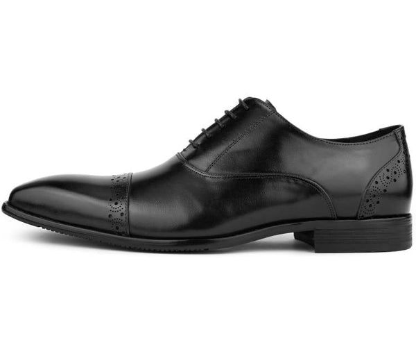 Asher Green Men's Genuine Leather Cap Toe Bal Oxford Dress Shoe with Classic Look and Fancy Perforated Details Style AG328