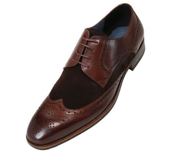 Ag1034 Suede Wingtip With Stripe Embossed Leather Derbs Dark Brown / 10