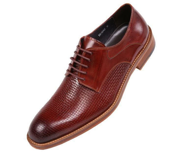 Ag210 Genuine Woven Buffalo Leather Oxford Derby Burgundy / 10