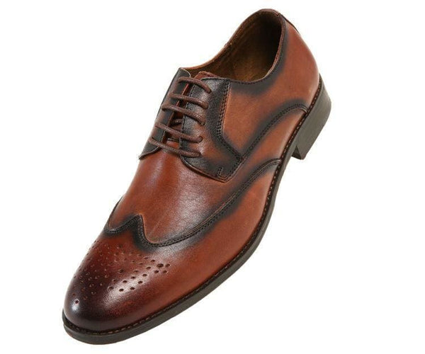 Nelson-028 Brown Burnished Leather Wingtip Derbs 10