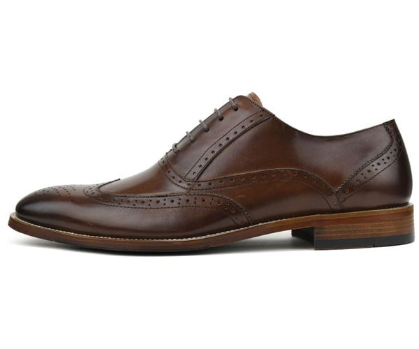 Asher Green Mens Genuine Leather Burnished Oxford Wingtip Dress Shoe, Lace-up Single Monkstrap