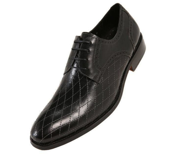 Ag369-Sale Quilted Leather Oxford Derby Lace Up Black / 10