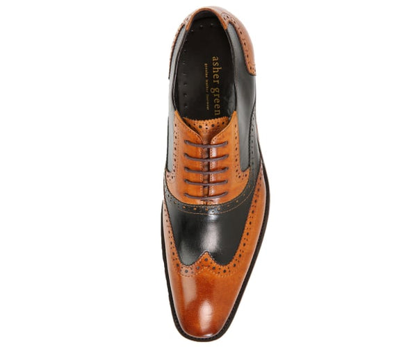 Ag100 Buffalo Calf Leather Two-Tone Wingtip Oxfords