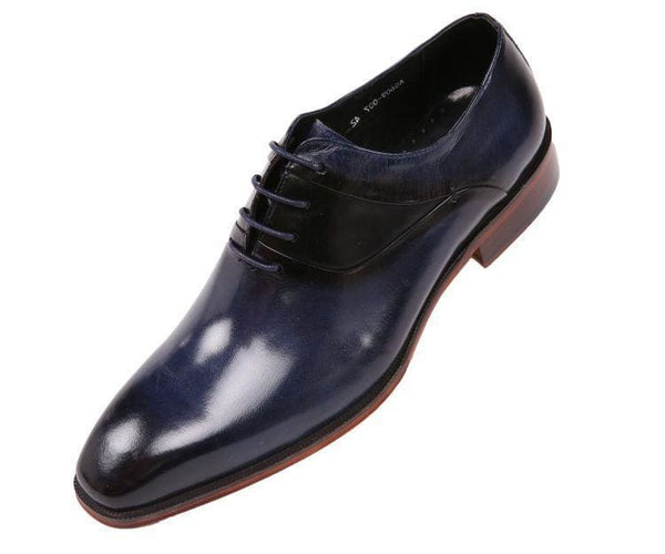 Ag609 Genuine Leather Cap Toe Lace Up Oxford Dress Shoe Oxfords Navy / 10
