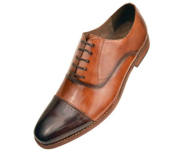 Ag8806-028 Brown And Tan Buffalo Calf Leather Cap-Toe Oxford Oxfords