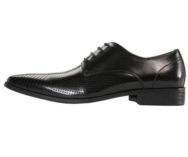 Ag7876 Leather Plain-Toe Oxford With Lazer Design Derby