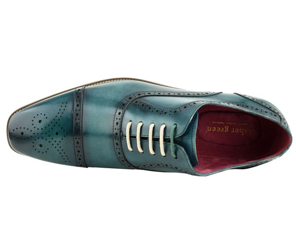 Asher Green Men's Genuine Leather Oxford Lace Up with Perforations and Smooth Cap Toe Dress Shoe, Style AG135