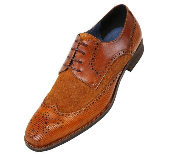 Ag1034 Suede Wingtip With Stripe Embossed Leather Derbs Tan / 10