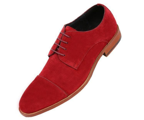 Ag3889 Genuine Suede Cap Toe Lace Up Oxford Derby Dress Shoe Lace Up Burgundy / 10
