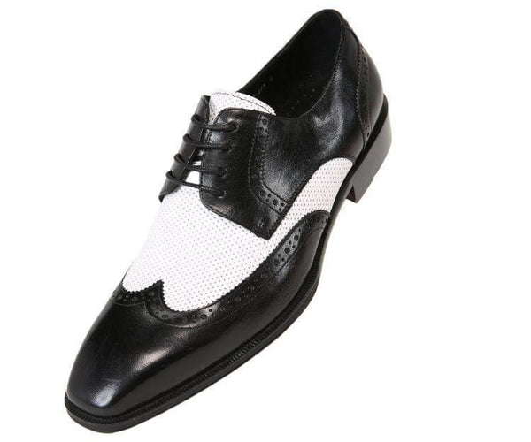 Ag3027 Two-Tone Waxed Leather Wingtip Derby Black / 10