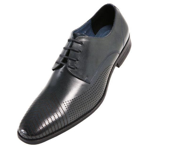 Ag7876 Leather Plain-Toe Oxford With Lazer Design Derby Navy / 10